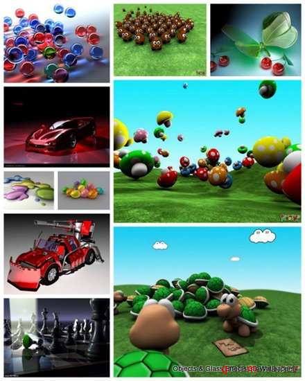105 Objects & Glass Effects 3D Wallpapers