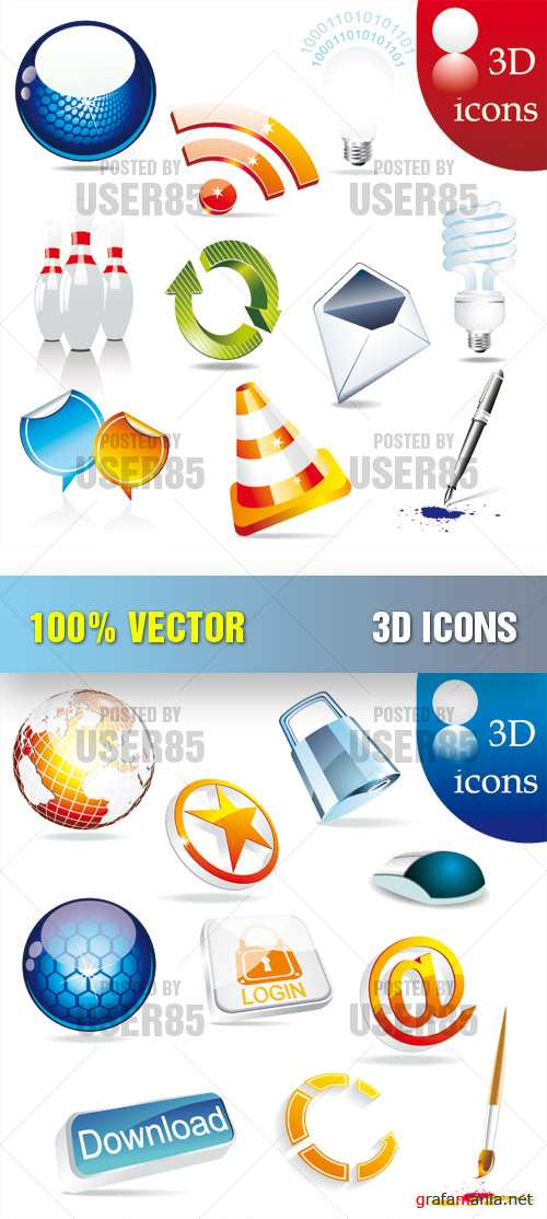 Stock Vector - 3D Icons