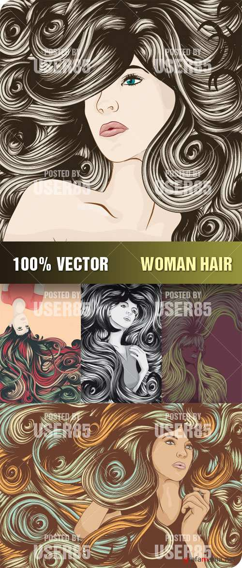 Stock Vector - Woman Hair