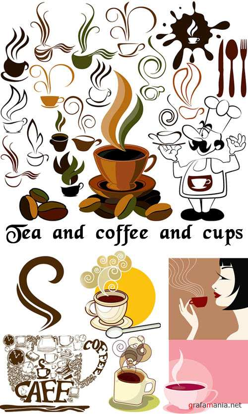 Tea and coffee and cups