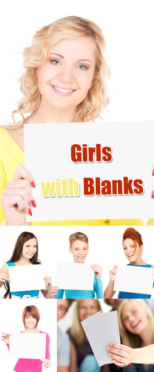 Stock Photo - Girls with Blanks