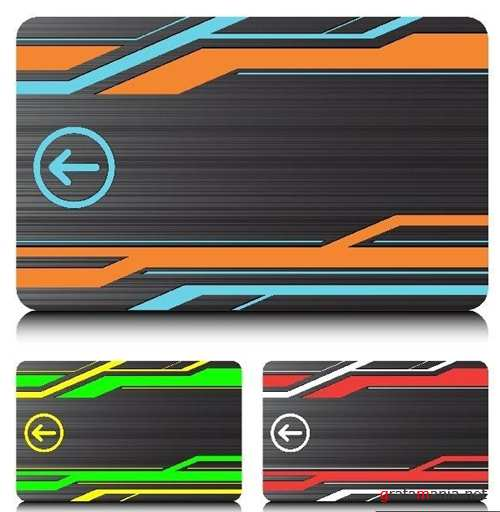 Colourful Swipe cards Labels Vector