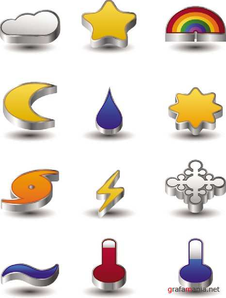 Stock Vector - 3D Weather Icons