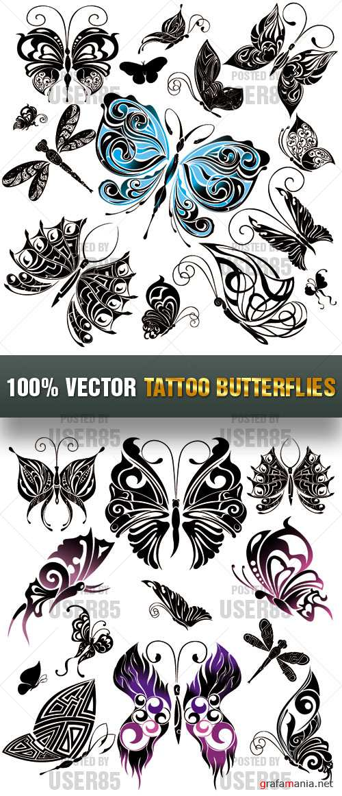 Stock Vector - Tattoo Butterflies
