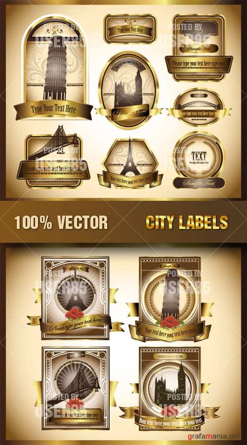 Stock Vector - City Labels