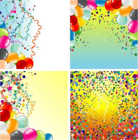 Backgrounds set with balloons and confetti