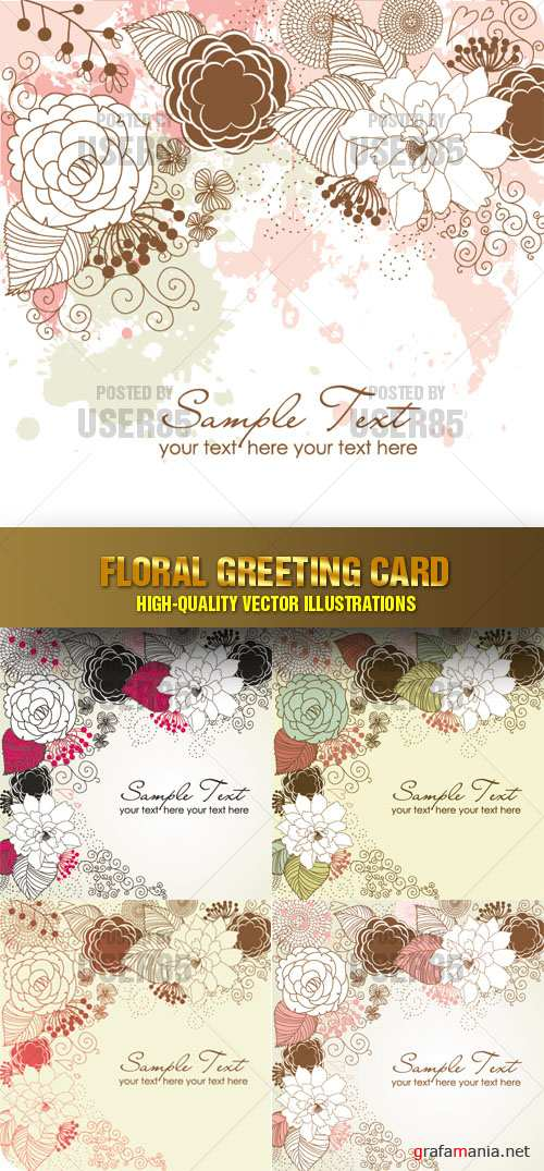 Stock Vector - Floral Greeting Card