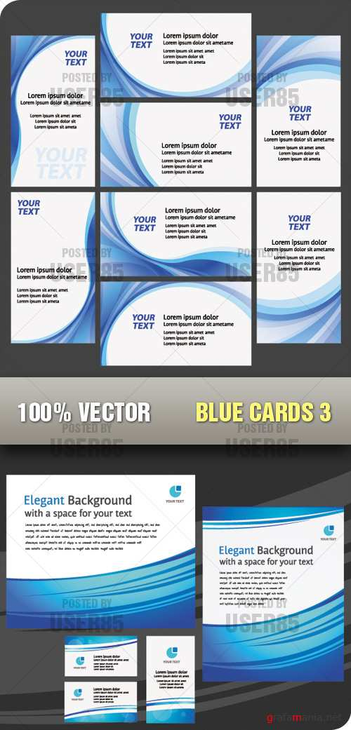 Stock Vector - Blue Cards 3