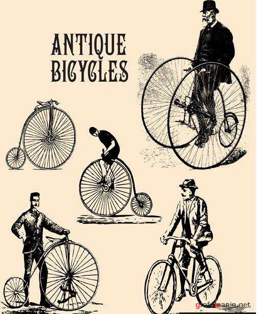 Antique Bicycles Vector