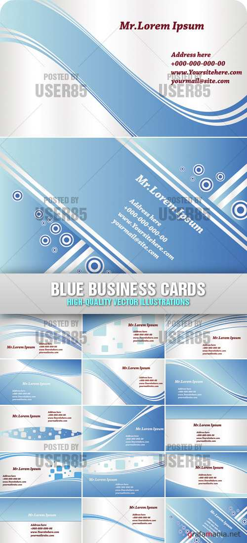 Stock Vector - Blue Business Cards