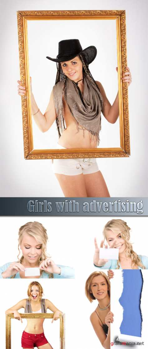 Girls with advertising
