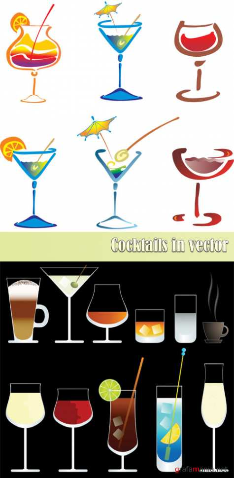 Cocktails in vector