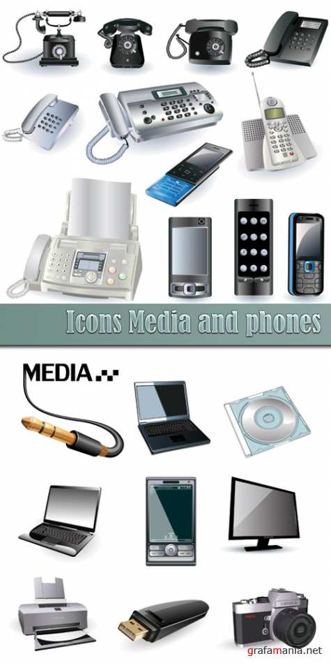 Icons Media and phones