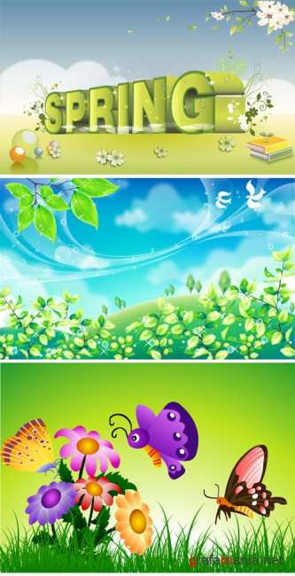 Stock Vector - 3 Spring Backgrounds