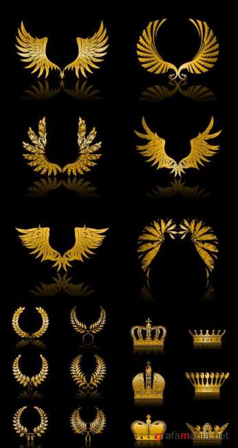Stock Vector - Golden wings, crown