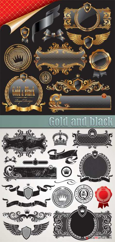 Gold and black vintage