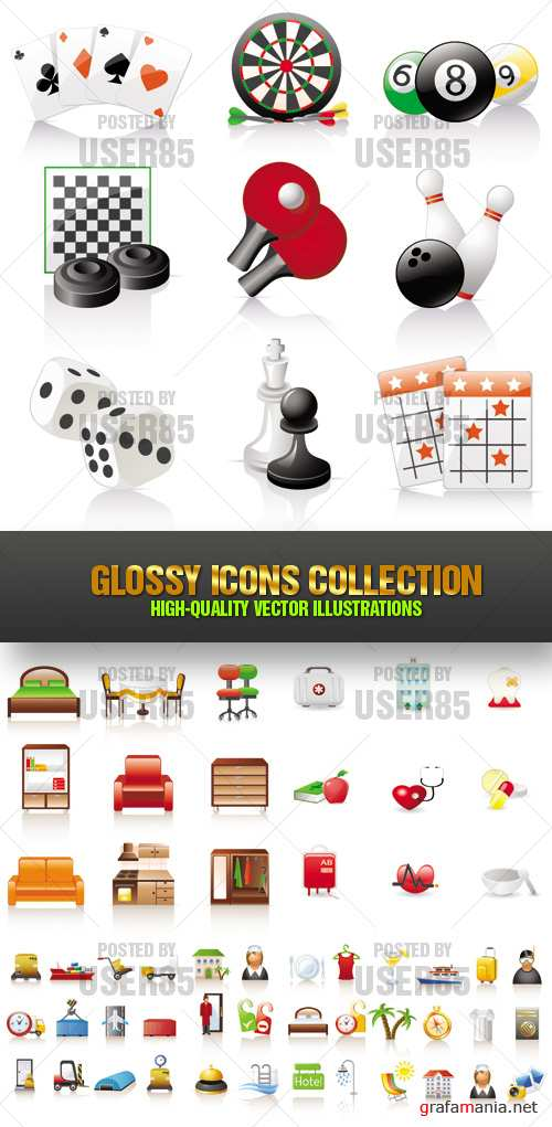 Stock Vector - Glossy Icons Collection