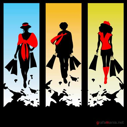 Three women silhouettes with packages