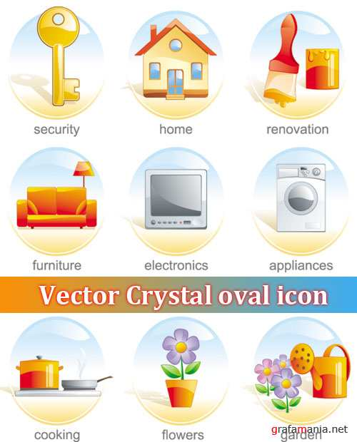 Vector Crystal oval icon