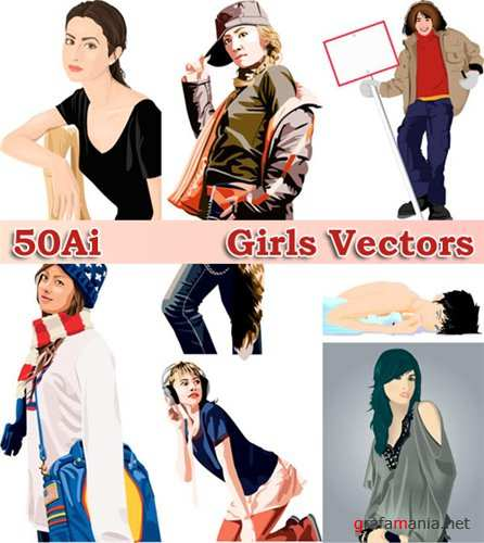 Векторый клипарт - 50 Girls Vectors