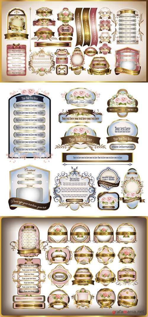 Romantic Labels Vector