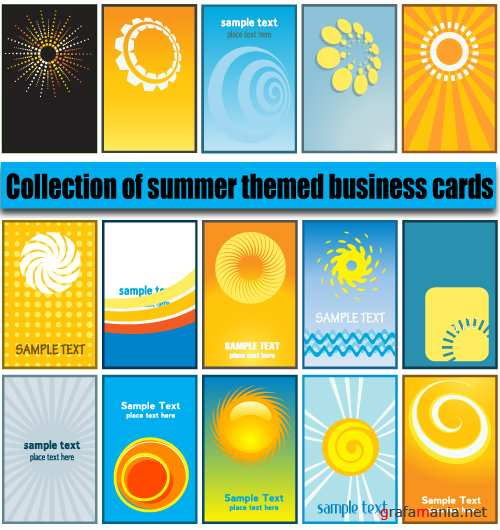 Collection of summer themed business cards