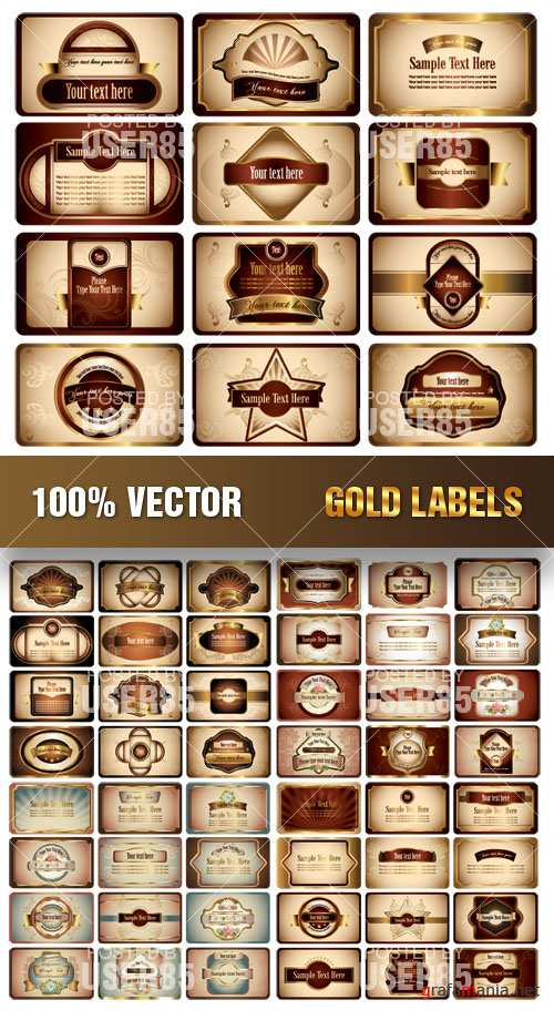 Stock Vector - Gold Labels