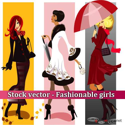Stock vector - Fashionable girls