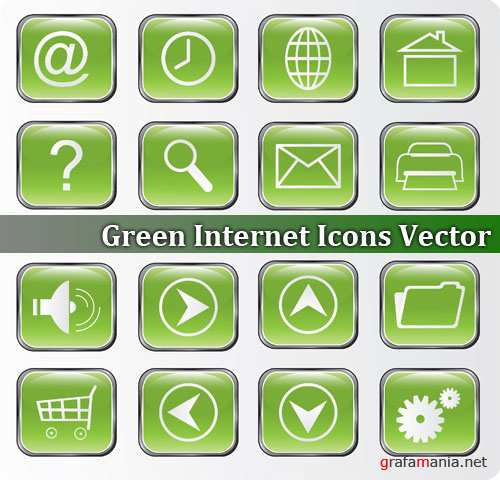 Green Internet Icons Vector