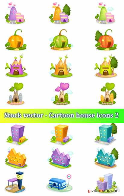 Stock vector - Cartoon house icons 2