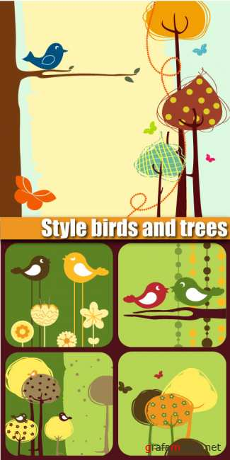 Style birds and trees