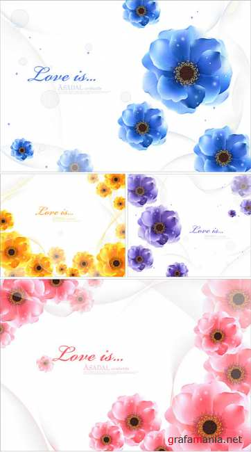Flower vector cards