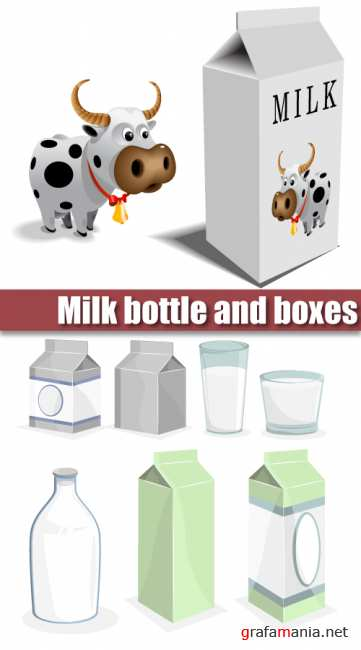 Milk bottle and boxes