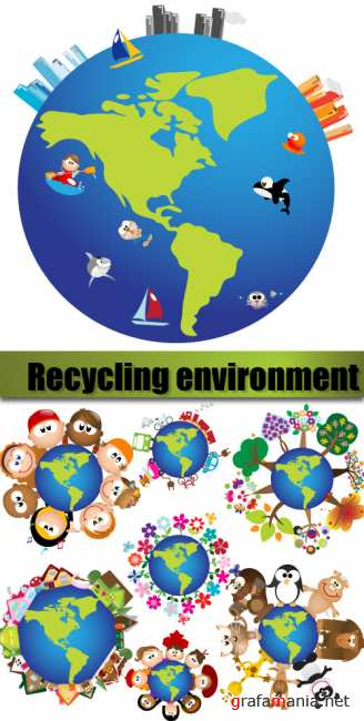 Recycling environment icons