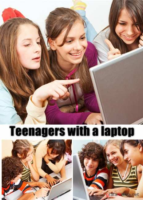 Teenajers with a laptop