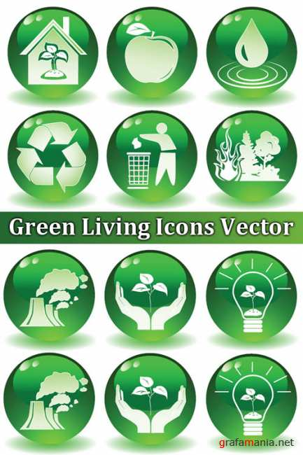 Green Living Icons Vector