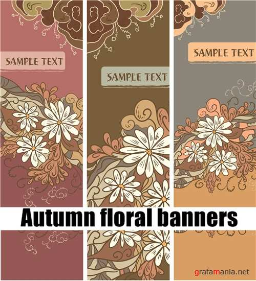 Autumn floral banners
