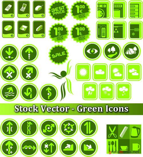 Stock Vector - Green Icons