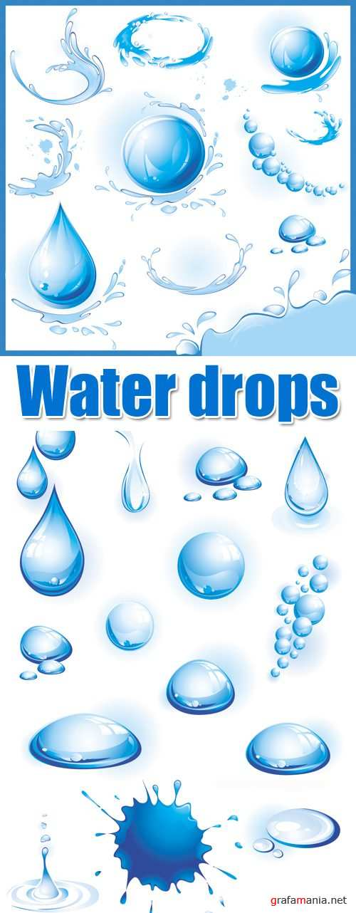 Water Drops and Splashes Vector