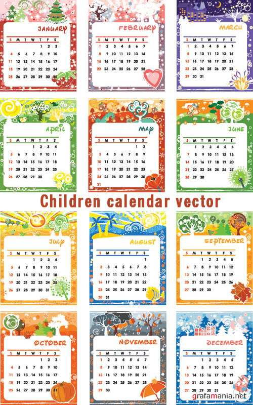 Children calendar vector