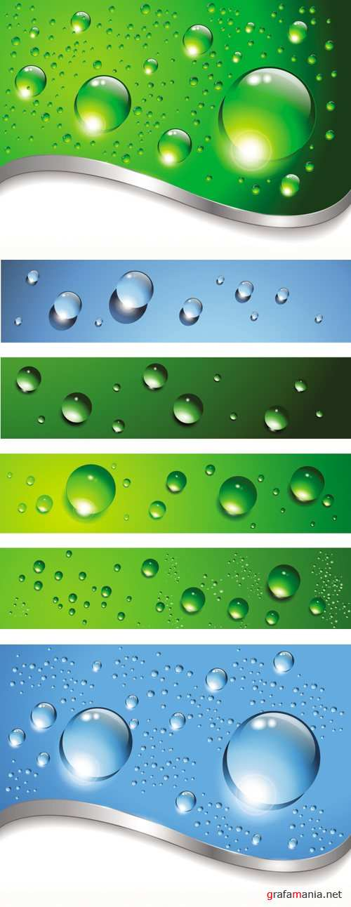 Water Drops Banners Vector