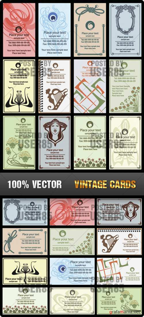 Stock Vector - Vintage Cards