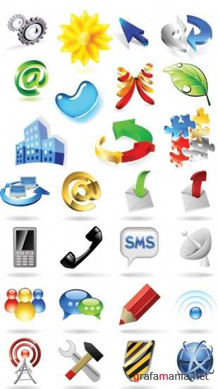 Stock vector - 3D Icons set