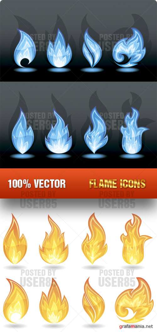 Stock Vector - Flame Icons