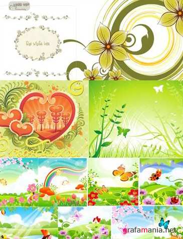 Grass and Flower in Summers vector