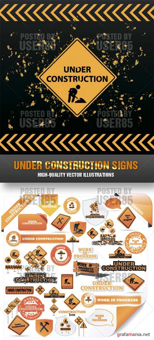 Stock Vector - Under Construction Signs