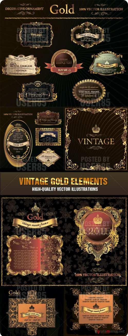 Stock Vector - Vintage Gold Elements