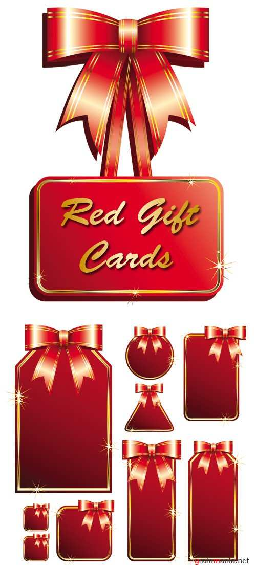 Red Gift Cards Vector