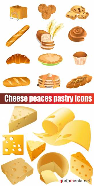 Cheese peaces pastry icons