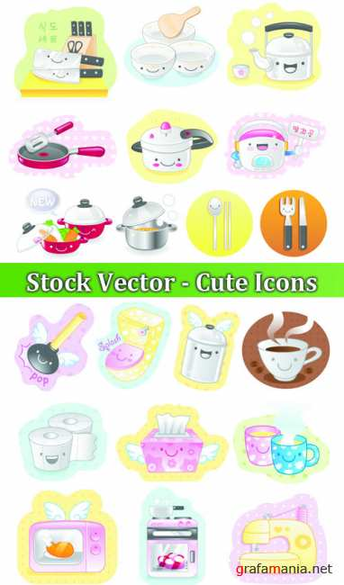 Stock Vector - Cute Icons